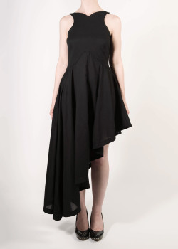 FAIIINT asymmetric dress with fitted bodice & full draped skirt in black cotton lawn