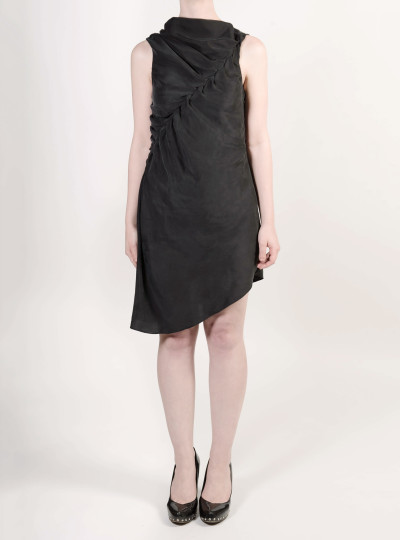 FAIIINT asymmetric sandwashed silk twisted & draped dress in washed black
