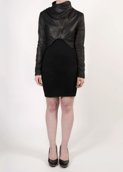 FAIIINT cropped draped black leather jacket with asymmetric zip