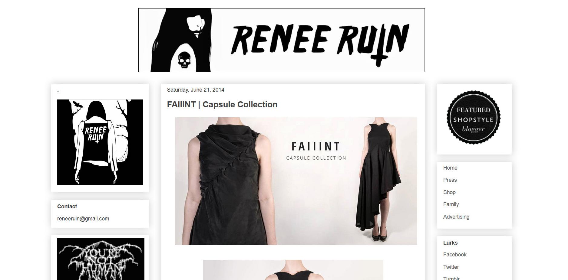 FAIIINT Capsule Collection featured on Renee Ruin