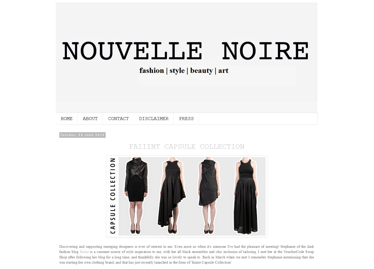 FAIIINT Capsule Collection featured on Nouvelle Noire