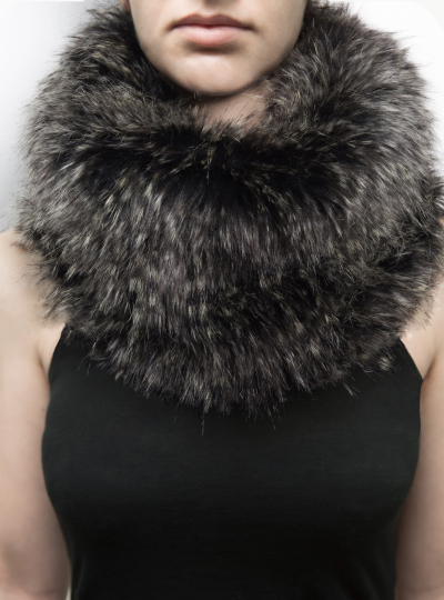 FAIIINT grey faux fur snood