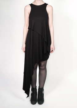 FAIIINT clothing Splice Dress black triple layered asymmetric draped gathered long short jersey dress