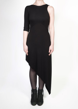 FAIIINT clothing Slash Dress black asymmetric basic jersey dress with one sleeve & shaped waist panel