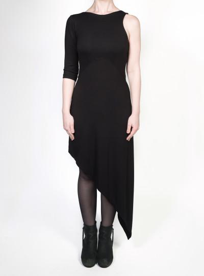 FAIIINT clothing Slash Dress black asymmetric basic jersey dress with one sleeve & shaped waist panel