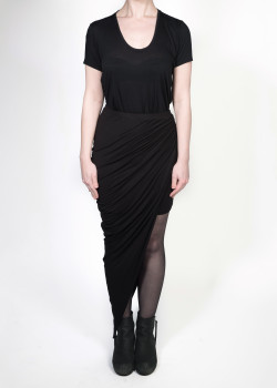 FAIIINT clothing Swathe Skirt black asymmetric draped jersey skirt